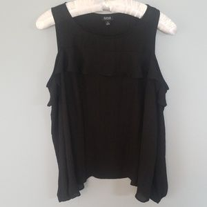 Cold Shoulder Black Ruffle Top